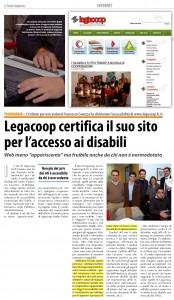 Rassegna Stampa: Legacoop Certifica il suo sito per l'accesso ai disabili